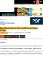 Sports Specialization and Intensive Training in Young Athletes | From the American Academy of Pediat