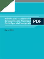Informe presentado en la Bicameral de seguimiento de las emergencias