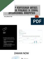 WORKSHOP PENYUSUNAN ARTIKEL ILMIAH DAN PUBLIKASI DI JURNAL INTERNASIONAL BEREPUTASI