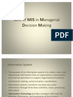 Role of MIS in Managerial Decision Making