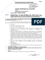 Interview call letter Sub Inspector (Open Merit)