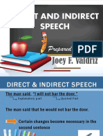 DIRECTCT AND INDIRECT SPEECH