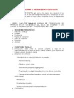 INDICACIONES PARA EL INFORME ESCRITOY PRESENTACIÓN ORAL DE PASANTÍA