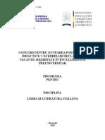 Limba Italiana Programa Titularizare 2011
