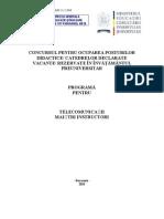 Telecomunicatii Programa Titularizare 2011