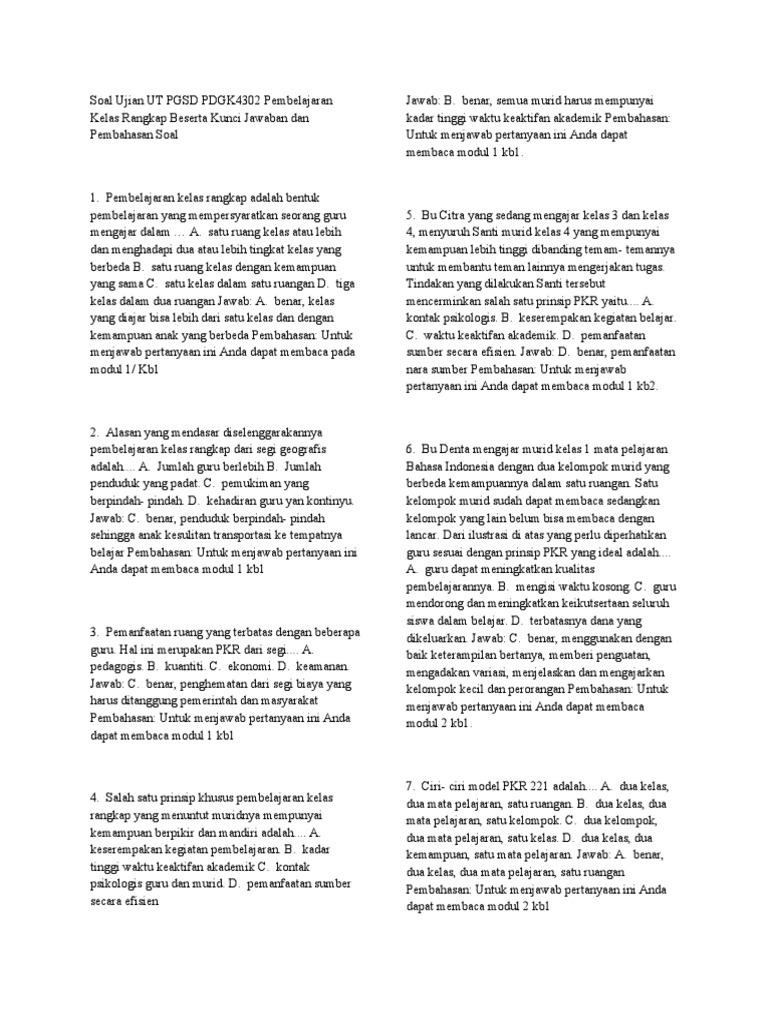 Soal Ujian Ut Pgsd Pdgk4302 Pembelajaran Kelas Rangkap Beserta Kunci Jawaban Dan Pembahasan Soal Docx
