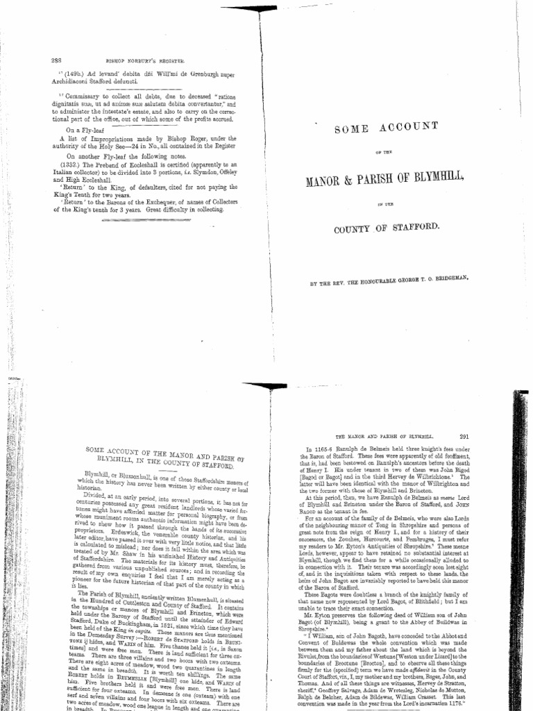 Some Account of the Manor & Parish of Blymhill, in the County of ...