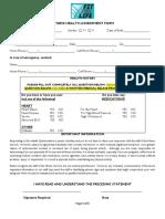 Fitness Health Assessment Form