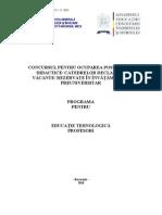 Educatie Tehnologica Programa Titularizare 2011