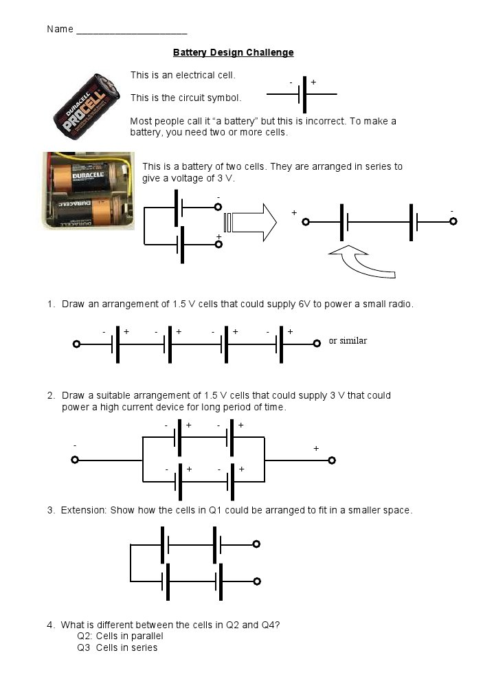 Battery Design Challenge Answers