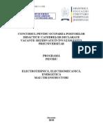 Electrotehnica Electromecanica Energetic A Programa Titularizare 2011