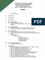 Watertown Board of Education agenda March 17, 2020