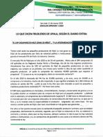 Circular del SIPROCNP  ante manifestación de agricultores en Diario Extra