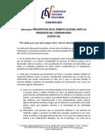 Comunicado de La CEV Medidas Preventivas en El Ámbito Eclesial Ante La Presencia Del COVID 19