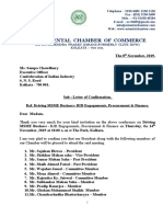 Letter of confirmation regarding Driving MSME Business- B2B Engagements, Procurement & Finance for members