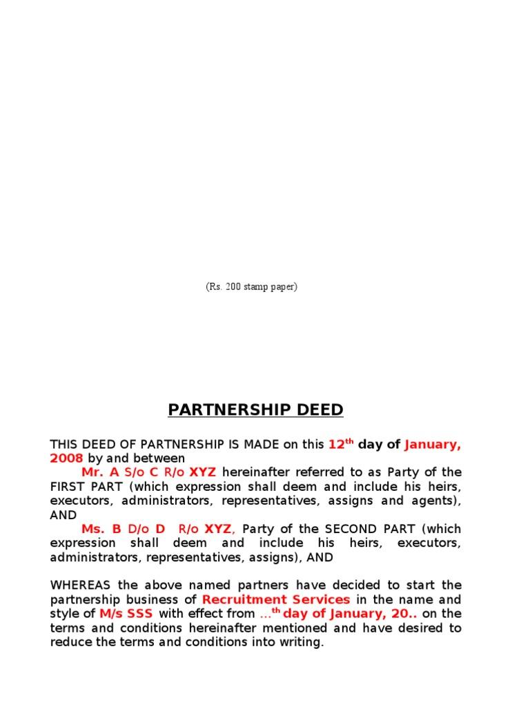 Partnership Deed A Partnership Deed Is A Written Document
