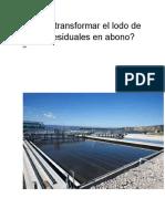 Cómo transformar el lodo de aguas residuales en abono