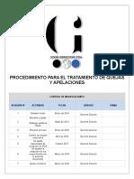 GQ - PRT - 004 PROD TRATAMIENTO QUEJAS Y APELACIONES V7