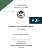 Projecto de Investigação - Estratégias de Formação Contínua de Professores na Área das TIC