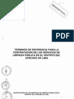 TDR para la Contratación del Servicio en la Limpieza Publica de Lima