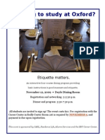Career Center Etiquette Dinner flier for Oxford students