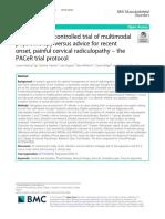 Un ensayo aleatorizado y controlado de fisioterapia multimodal versus consejos para radiculopatía cervical dolorosa de inicio reciente el protocolo de ensayo PACeR