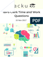 IBPS Clerk Time and Work Questions
