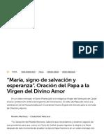 """""""María, signo de salvación y esperanza"""". Oración del Papa a la Virgen del Divino Amor print - Vatican News"""