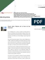 """Charla sobre """"Historia de la Feria de San Francisco"""""""