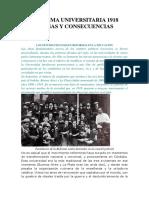 REFORMA UNIVERSITARIA 1918 CAUSAS Y CONSECUENCIAS