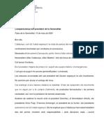 Compareixença del president de la Generalitat