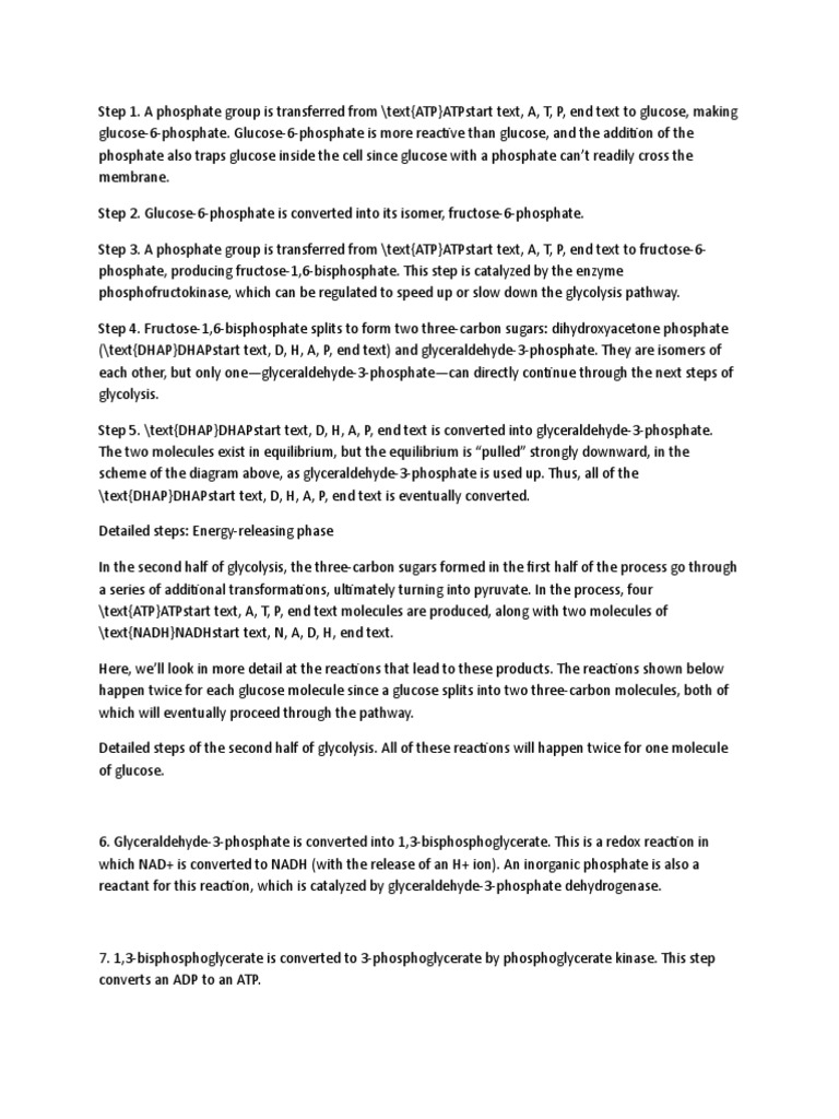 GLYCOLYSIS a TEN STEP PROCESS | Glycolysis | Adenosine Diphosphate