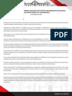 Mensaje a La Nación de Martín Vizcarra 15.3.20