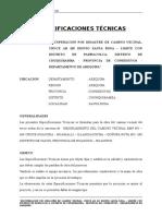ESPEC. TECNICAS CAMINO CRUCE HUACORA - HUAMALLI - ILLANGACOCHA