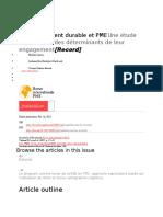 Développement durable et PME Une étude exploratoire des déterminants