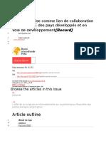 La coentreprise comme lien de collaboration entre les PME des pays développés et en voie de développement