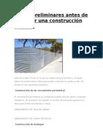 Obras preliminares antes de iniciar una construcción