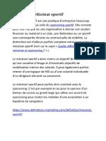 difinition (sponsoring.mécenat)