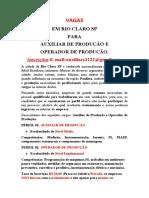 Vagas Auxiliar e Operador de Produção Rio Claro SP.