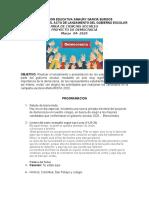 PROGRAMACION DE LANZAMIENTO GOBIERNO ESCOLAR AMAURY 2020
