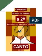 CANTO - Contenidos Prueba de acceso a SEGUNDO de CANTO Enseñanzas Profesionales 2020