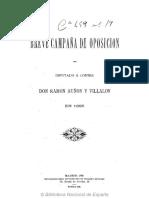 Breve campaña de oposicion del diputado Ramon Auñon y Villalon 1895