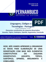Elementos constituintes do esquema dissertativo (assunto, tópico, subtópico, opiniões, argumento, conclusão)