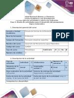 Guía de actividades y rúbrica de evaluación - Paso 3 - Diseño de actividades para el desarrollo del pensamiento lógico-matemático (D.P.L.M.)