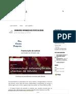 Coronavírus_ Informação aos Utentes da Sãvida - Por Conta Propr