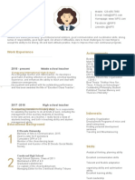 Gold Resume for Experienced Teachers-WPS Office