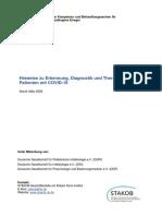 Hinweise zu Erkennung, Diagnostik und Therapie von Patienten mit COVID-19