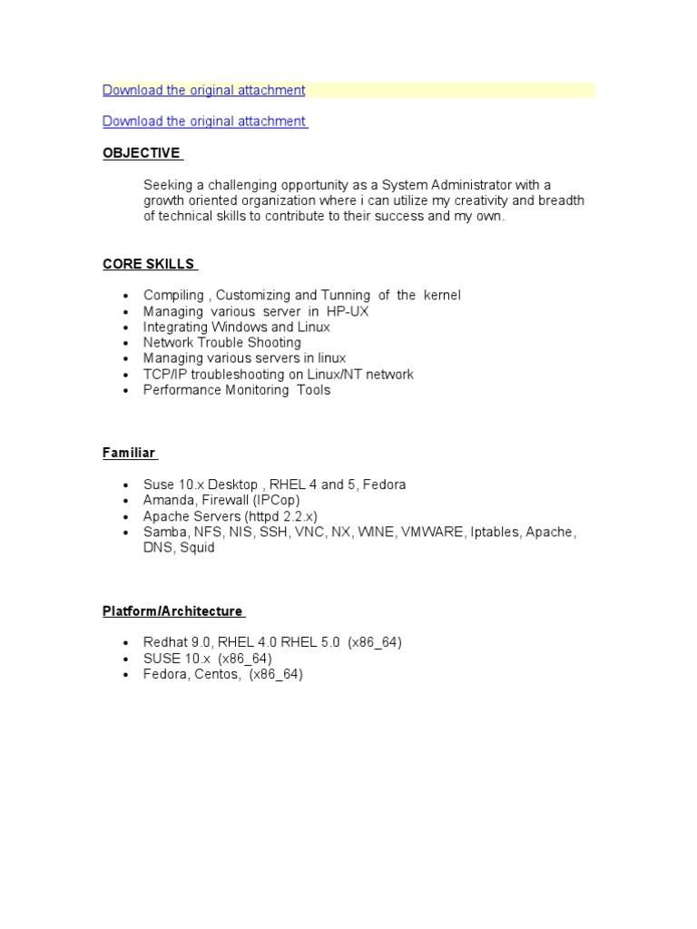 linux fresher cv format