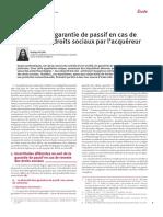 Garantie de passif - Le sort de la garantie de passif en cas de revente des droits sociaux par l'acquéreur - Etude par Nadège JULLIAN