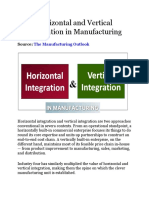 Horizontal and Vertical Integration in Manufacturing